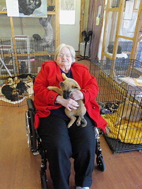 Heritage House Richmond resident Ernestine Nicholson spends the day with animals